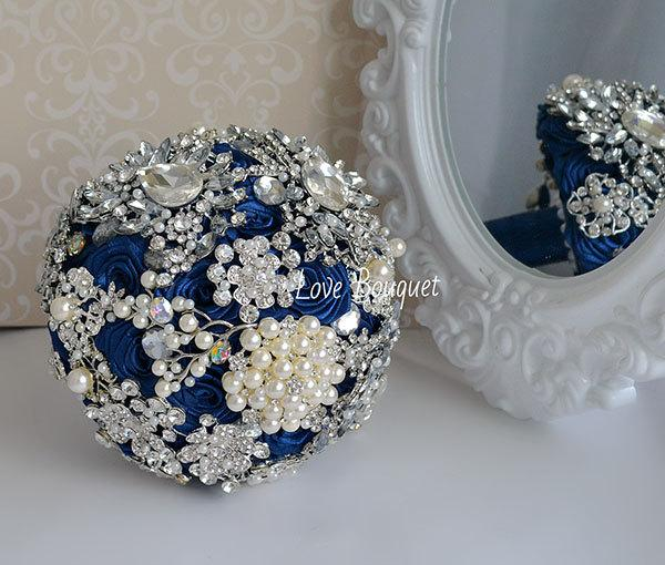 Pearl Wedding Brooch Bouquet Navy Blue Brooch Bouquet Silver