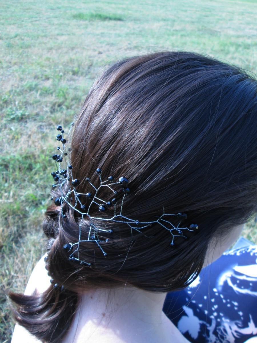 Mariage - Wedding hair vine Hair vine bridal Crystal hair vine Black crystal hair Wedding accessories Black jewelry Rhinestone hair Crystal hair pins