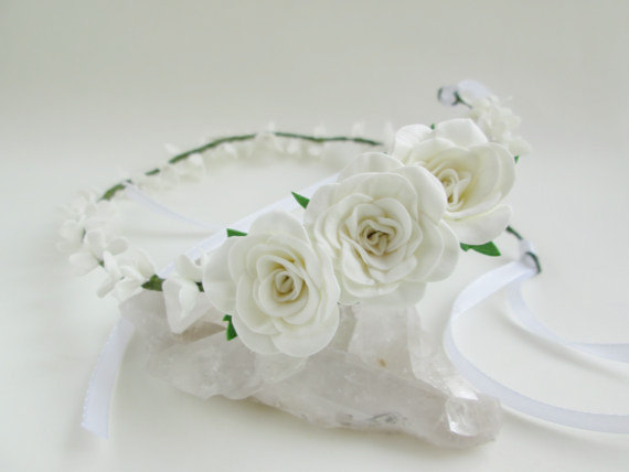 Bridal Tiara White Rose Wedding Hair White Flower For Hair Wedding