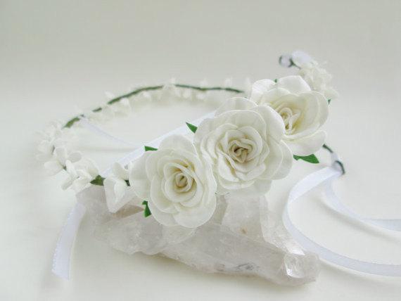 Bridal Tiara White Rose Wedding Hair Flower For Flowers Rustic Accessories