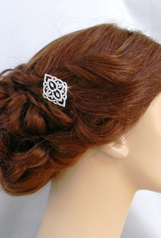Wedding - Bridal Hair Barrette, Comb, Rose Gold Bridal Hair clip, Crystal hair comb, Rhinestone hair comb, MacKenzie Hair Comb