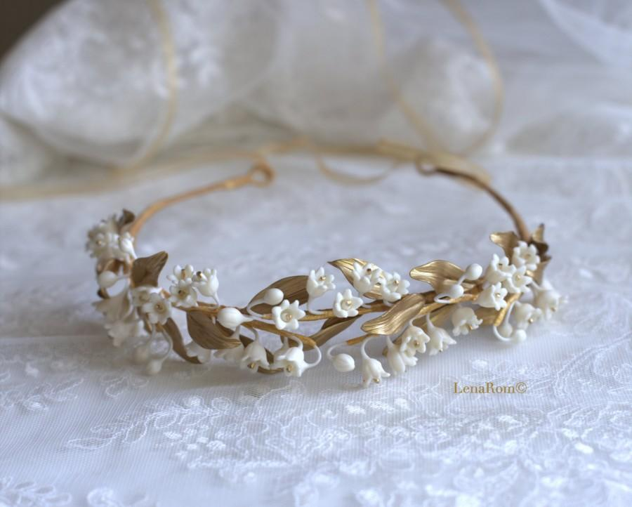 Lily of the valley headpiece. Bridal crown. Gold bridal headpiece. Bridal  headpiece. Bridal wreath. MOD623 bridal Crown 8805b6575a0