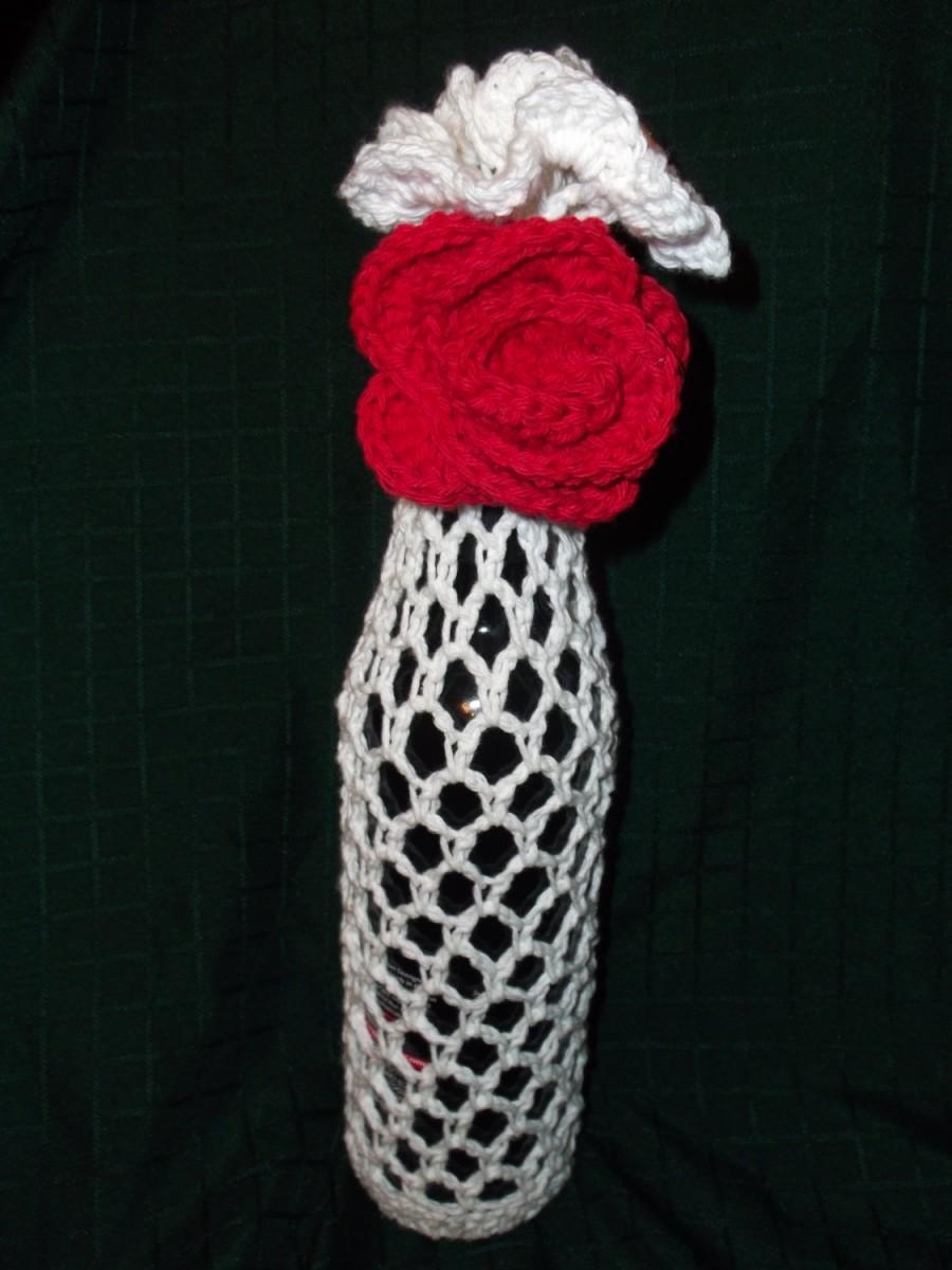Свадьба - Crochet Tote Bag, Wedding or Anniversary Wine Tote Bag