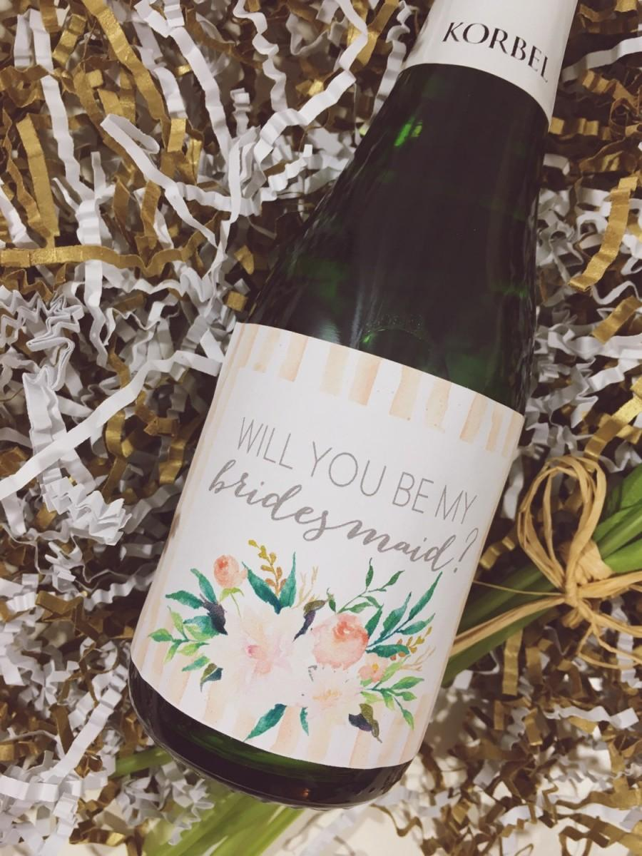 Wedding - Will you be my bridesmaid mini champagne bottle label