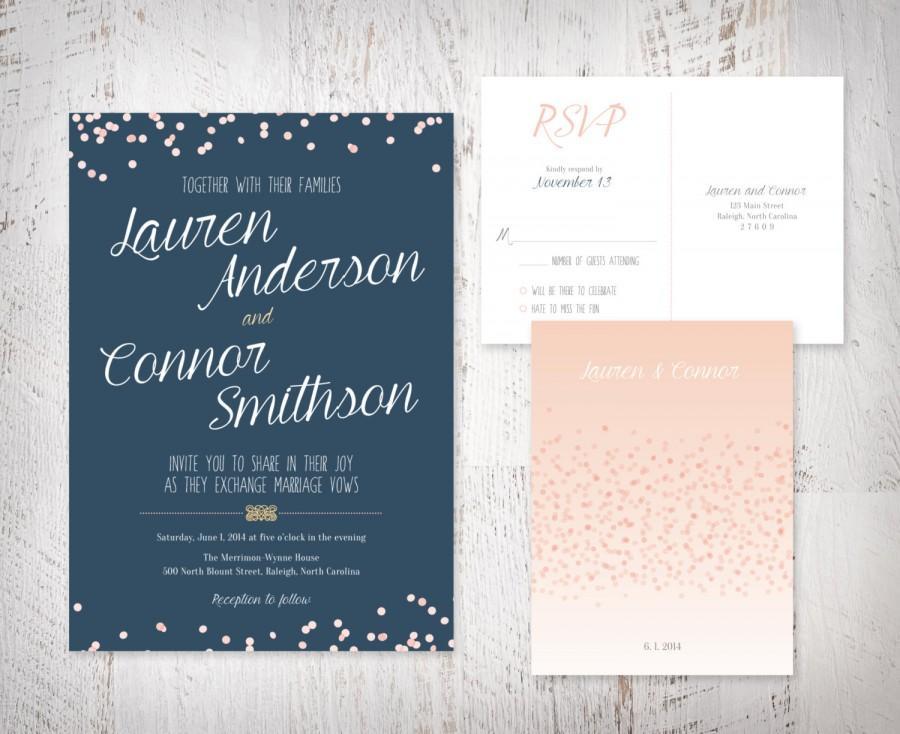 Wedding - navy and blush wedding invitation, confetti, blush, navy, sparkle – DYI, print at home, or professionally printed