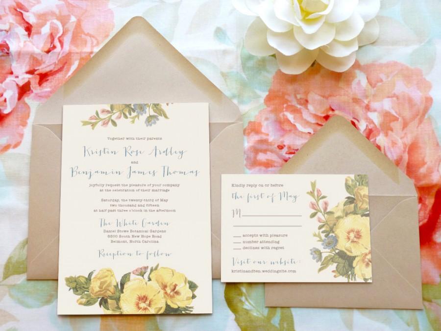 Sunshine And Hollyhocks Garden Wedding Invitations   Flower Wedding    Botanical Wedding   Spring Wedding   Nature Wedding