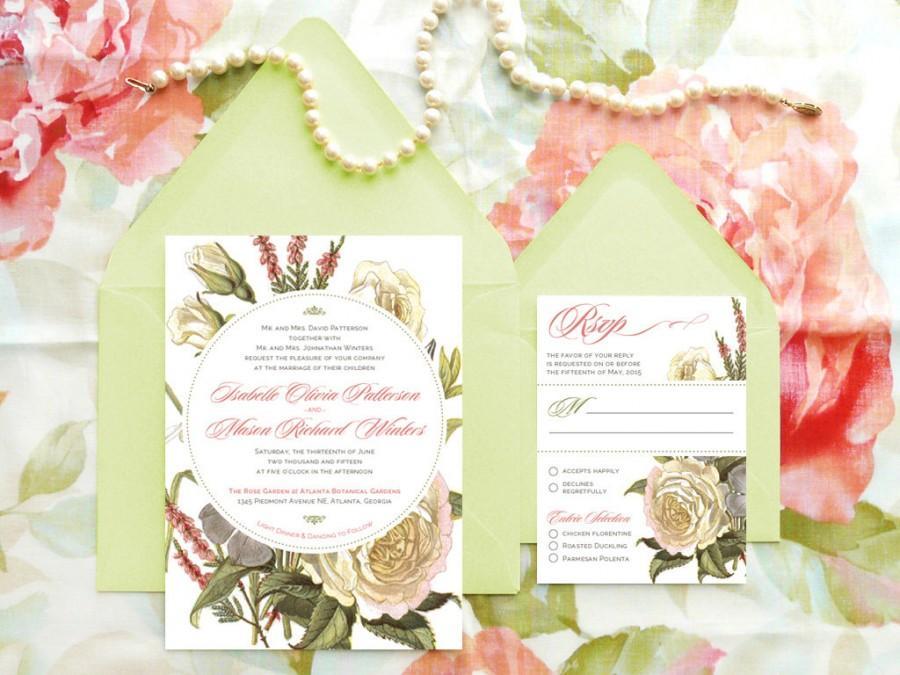 Wedding - White Rose Bouquet Garden Wedding Invitations - Flower Wedding - Botanical Wedding - Spring Wedding - Nature Wedding