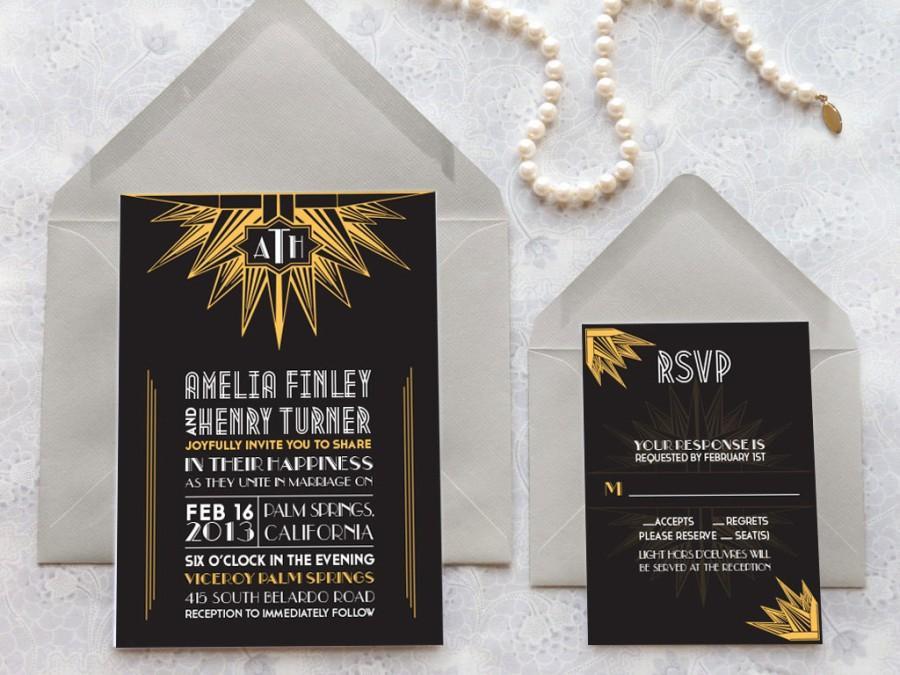 Deco Noir Starburst Art Deco Wedding Invitations - Monogram Wedding ...