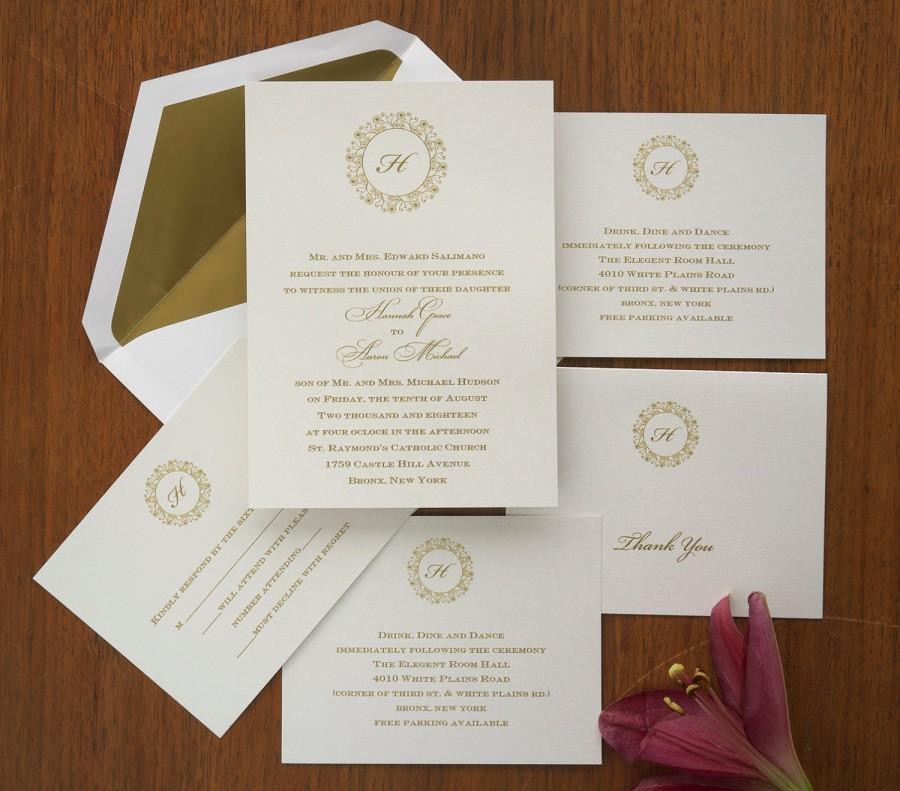 Single Initial Wedding Invitation Set - Thermography Wedding Invite ...