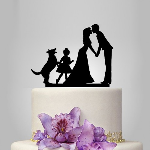 Свадьба - bride and groom Wedding Cake topper with girl, german shepherd