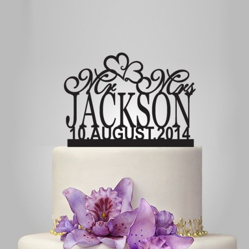 Wedding - Monogram Wedding cake topper with date, personalized cake topper
