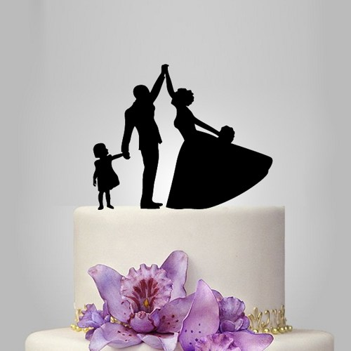 Bride And Groom Funny Wedding Cake Topper With Kid Cake Topper 2606051