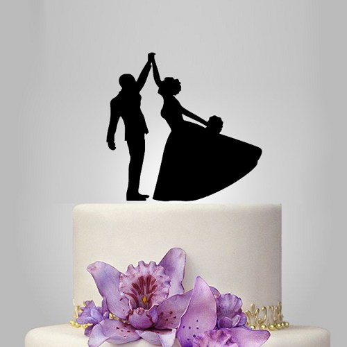 funney silhouette wedding cake topper bride and groom 2606052