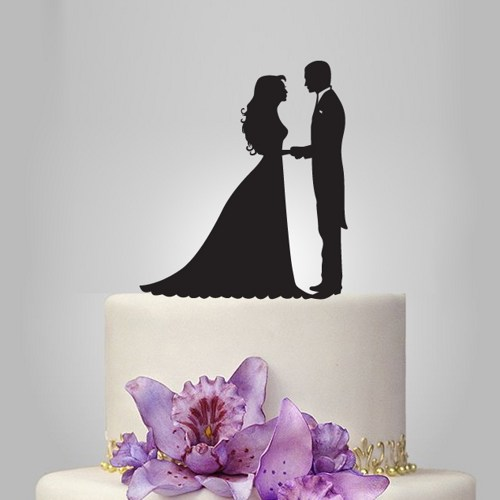 Mariage - bride and groom silhouette wedding cake topper, acrylic cake topper