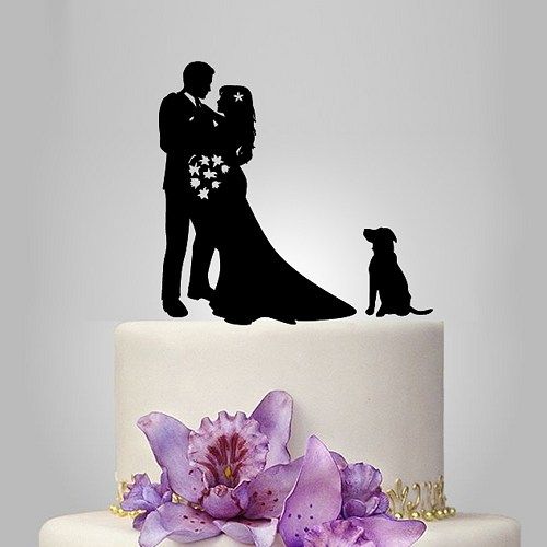 Wedding Silhouette Cake Topper With Dog Decor