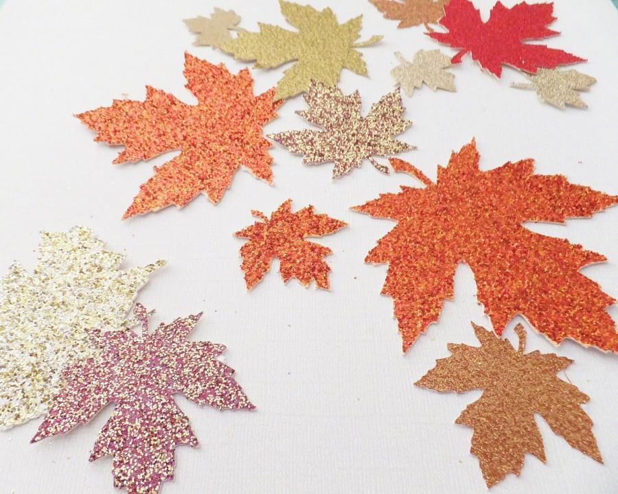 """Mariage - Autumn Glitter Leaves ~ 1.5"""" to 2.25"""" Confetti  Wedding / Thanksgiving Table Decor ~ 50 Pieces ~ Fall Colors"""