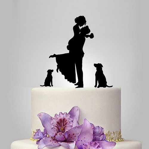 Wedding - family wedding cake topper with couple and 2 dog, cake decoration