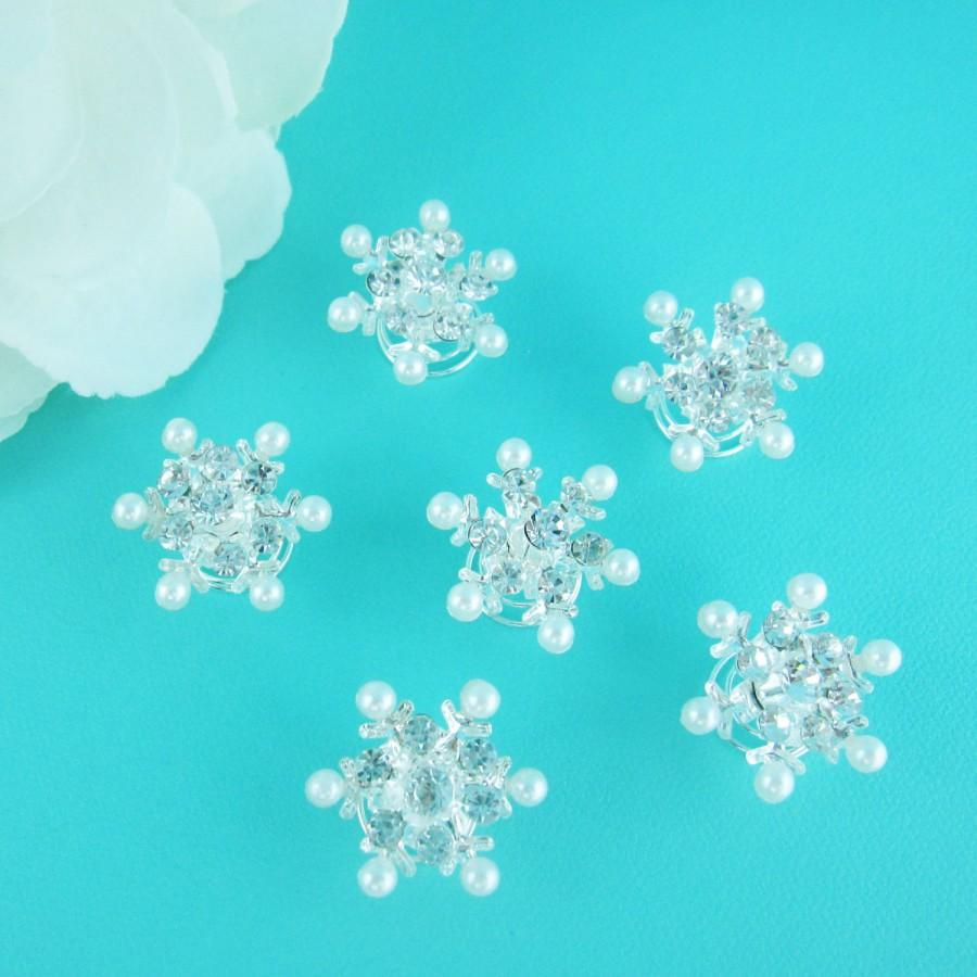 Mariage - Snowflake Twist Ins, Set of 6, Snowflake Wedding Accessories, rhinestone rhinestone hairpin, bridal hair pearl, winter wedding 250967250