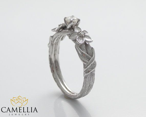 Hochzeit - Branch Engagement Ring 14K White Gold Engagement Ring Diamond Branch Ring