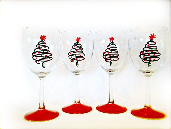Christmas Holiday Wine Glasses Set Of 4 2606129 Weddbook