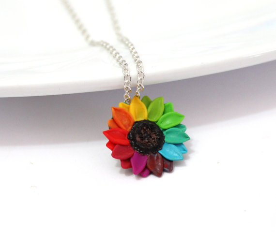 Свадьба - Rainbow Sunflower, Sunflower Necklace - Sunflower Jewelry - Gifts - Rainbow Sunflower Bridesmaid, Sunflower Flower Necklace, Bridal Flowers