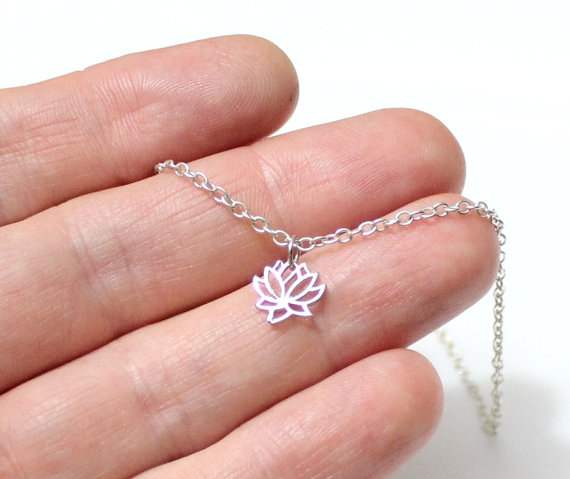 Wedding - Tiny Lotus Necklace, Lotus Flower Charm, Sterling Silver, Tiny Charm Necklace, Dainty Necklace, Yoga Jewelry, Charm Necklace, Gift Necklace