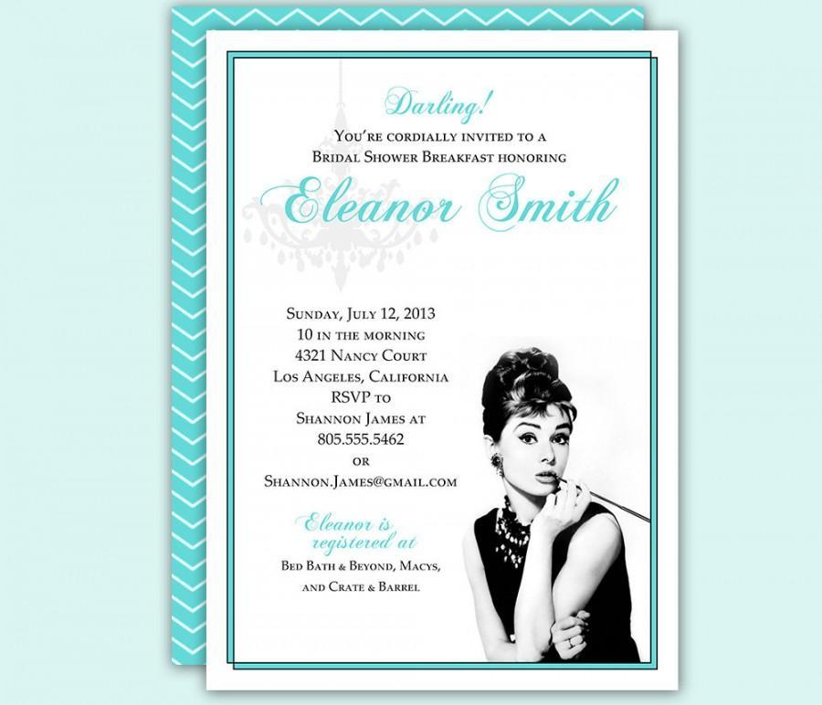 Wedding - Breakfast at Tiffany's Bridal Shower Birthday Party Invitation Custom Download 5x7