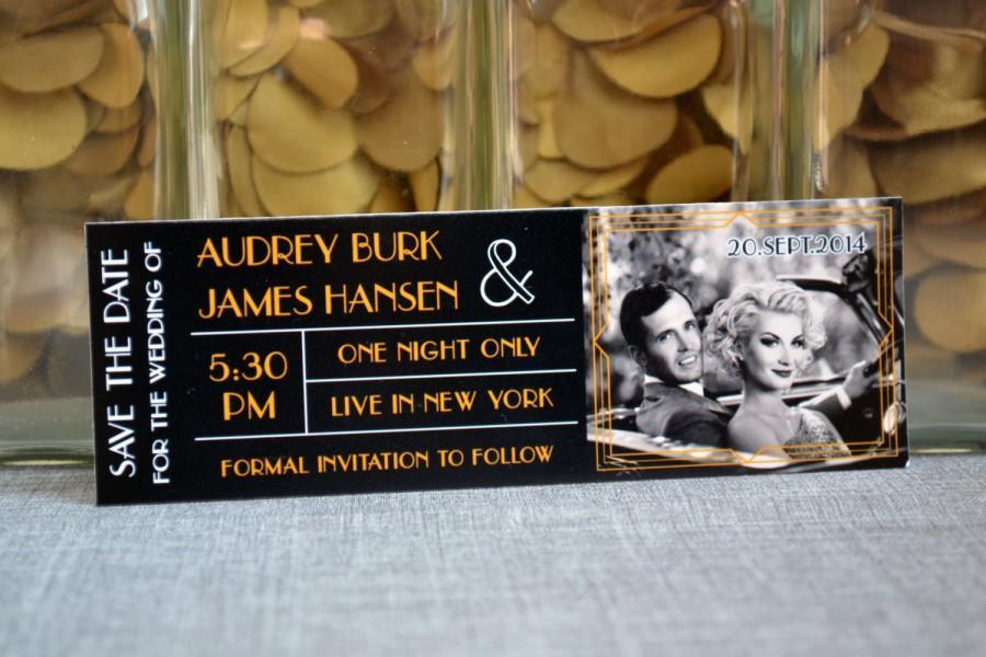 زفاف - Great Gatsby Inspired Save The Date Ticket Magnet