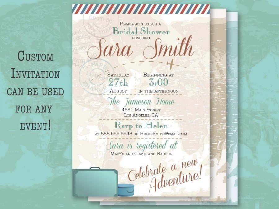 vintage travel wedding bridal or baby shower graduation birthday