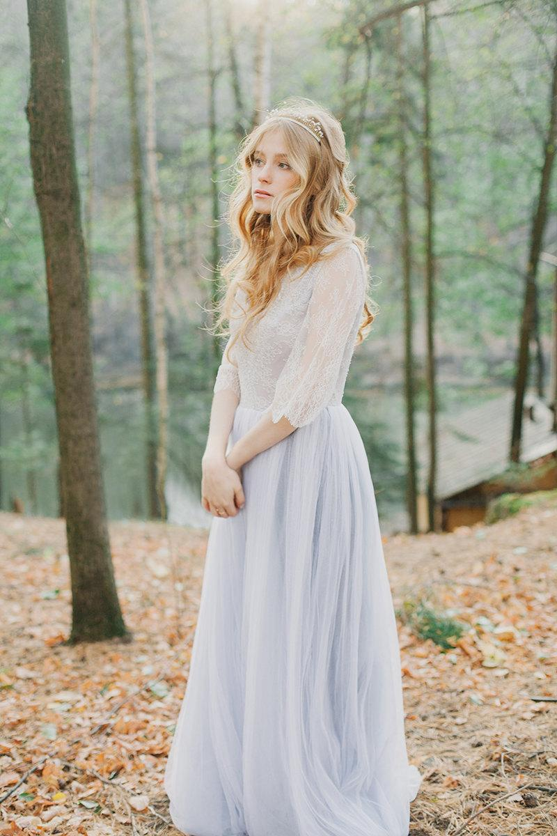 Lavender Wedding Grey Tulle Gown Dress