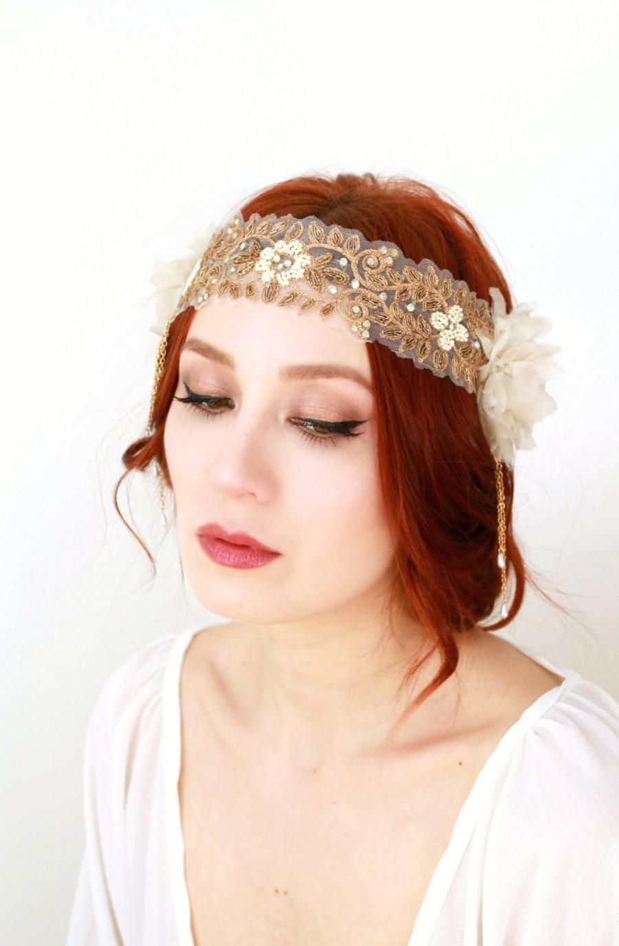 Wedding - Boho bridal headpiece, flapper headpiece, 1920s wedding, wedding headband, ivory bridal headpiece, whimsical headband, art nouveau accessory