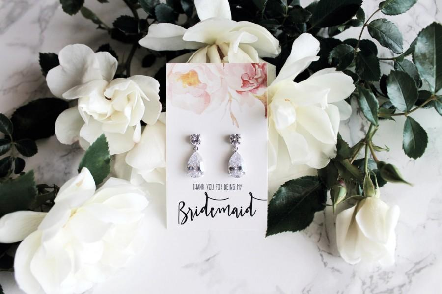 "Mariage - Isabella -  White Gold plated ""Will you be my bridesmaid?"" Pop the question crystal drop earrings"