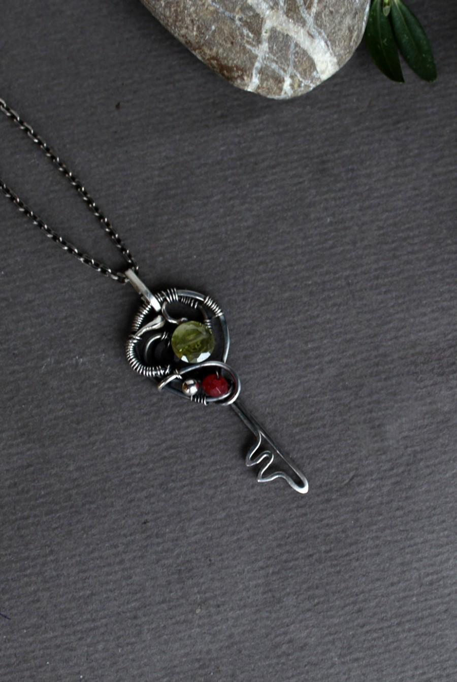 Silver Key Pendant Wire Wred