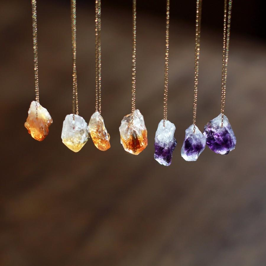 Свадьба - Raw Gemstone Necklace, Raw Stone, Raw Citrine Necklace, Raw Amethyst Necklace, Crystal Nugget, Boho Style, Rough Gemstone Jewelry
