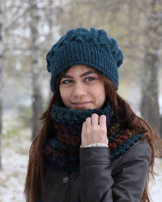 Crochet Hat And Scarf Set Crochet Blue Colors Hat Winter Set Lace