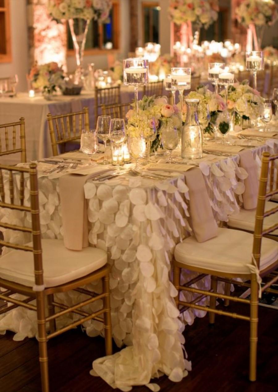 Petal Tablecloth Ivory White Blush Pink Ready To Ship Romantic