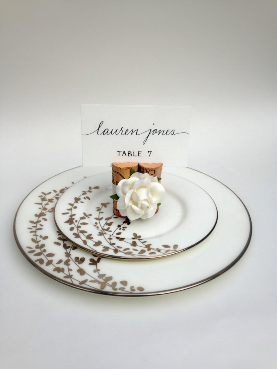 Rose wedding place card holder weddings table decor for Place settings name card holders