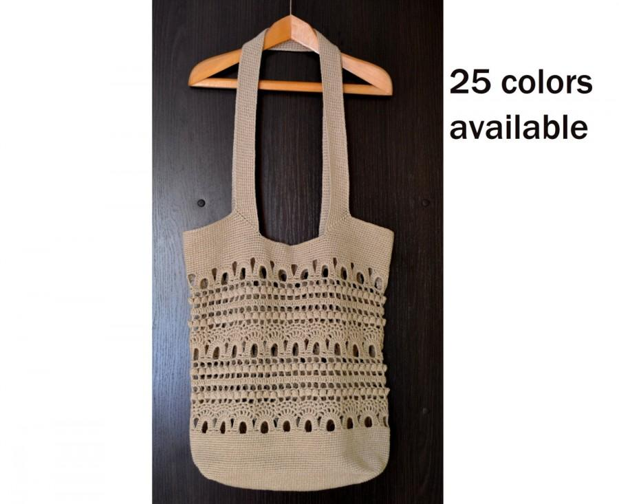Wedding - Beige Crochet Tote Bag For Women - Boho Summer Tote Available in a 25 Colors - Women's Large Crochet Beach Festival Bag - ItWasYarn Bags