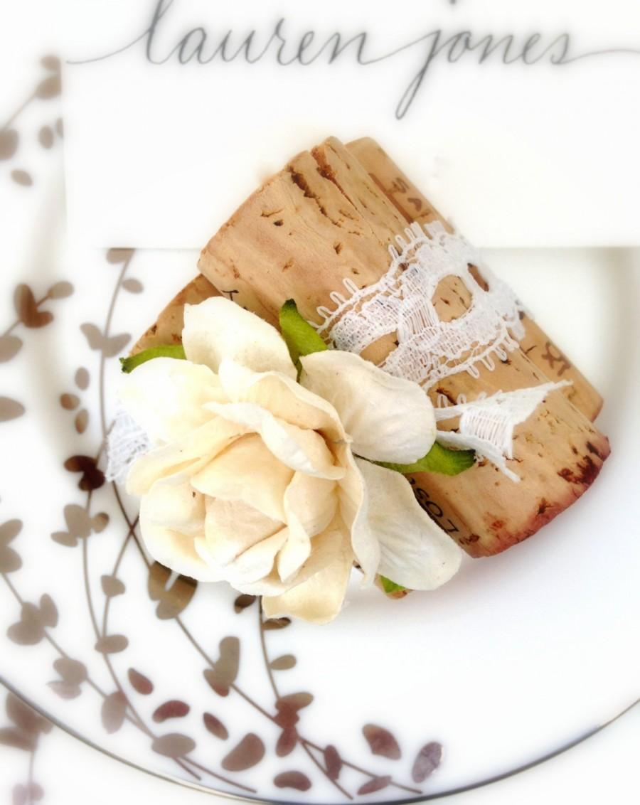 Wine Cork Place Card Holders Or Table Number Weddings Settings Rustic Decor Antique White Lace Romantic Unique Wedding