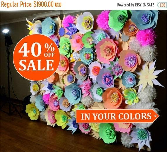 40 off paper flower wall wedding backdrop paper flower for Photo decoration