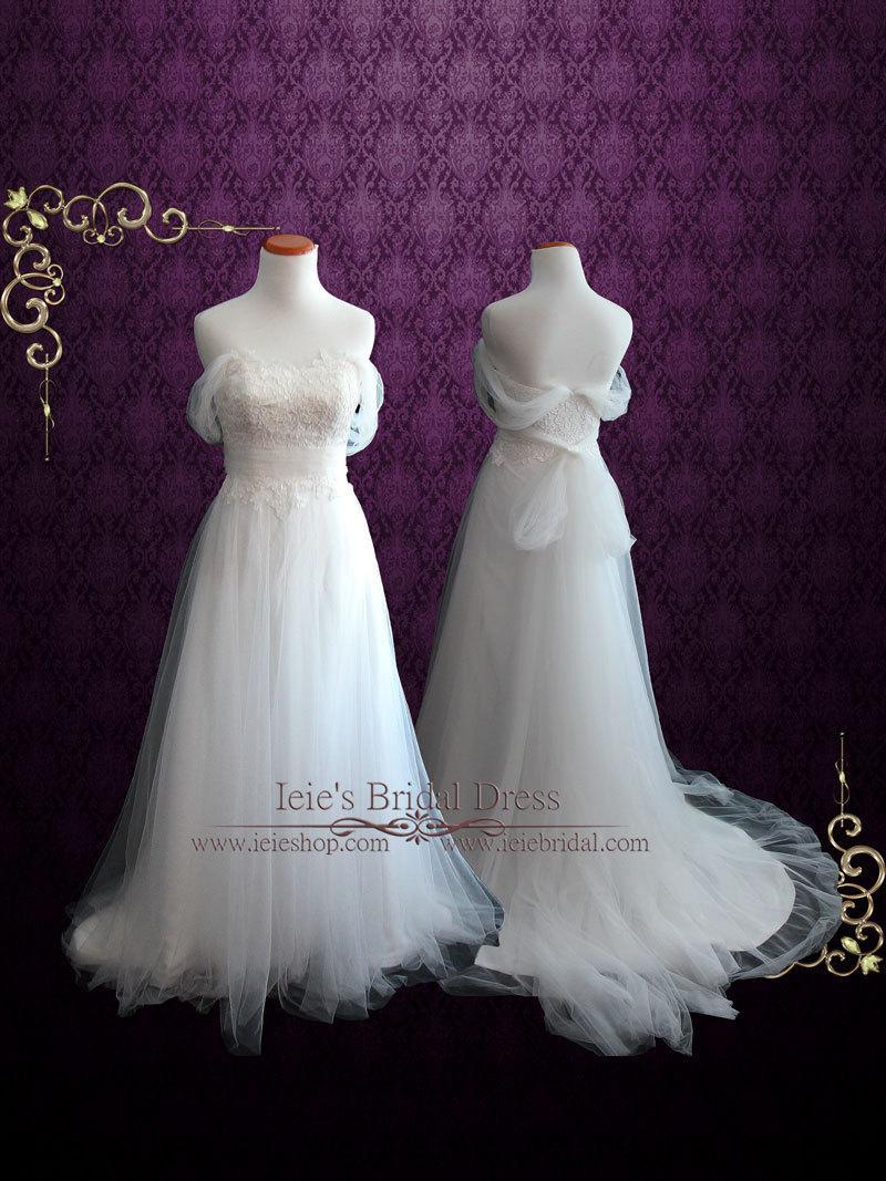 زفاف - Soft Lace and Tulle Beach Wedding Dress with Off Shoulder Straps, Fairy Wedding Dress, Simple Wedding Dress