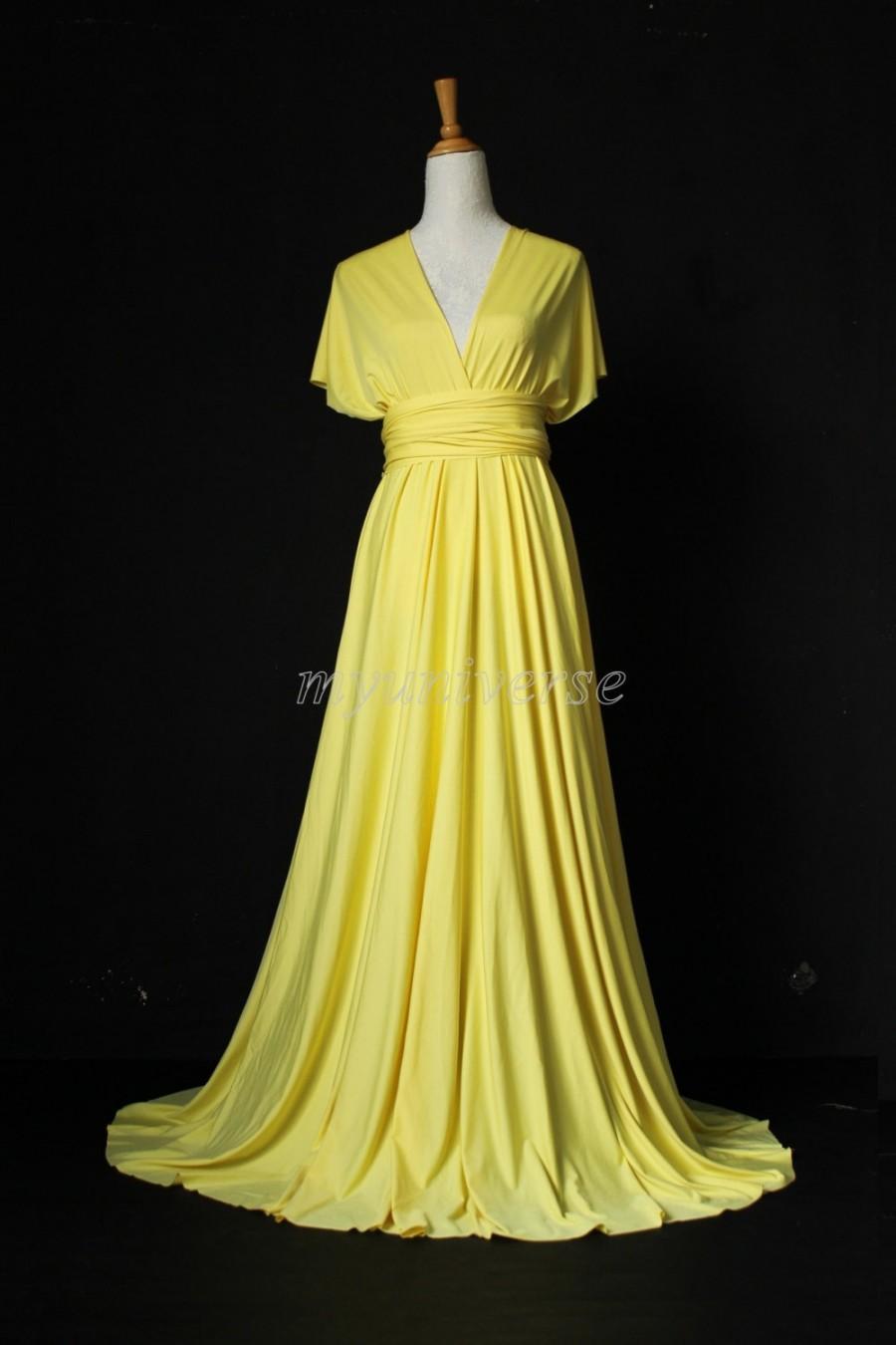 Mariage - Bridesmaid Dress Wedding Dress Infinity Dress Wrap Convertible Dress Evening Dress Yellow Daffodil