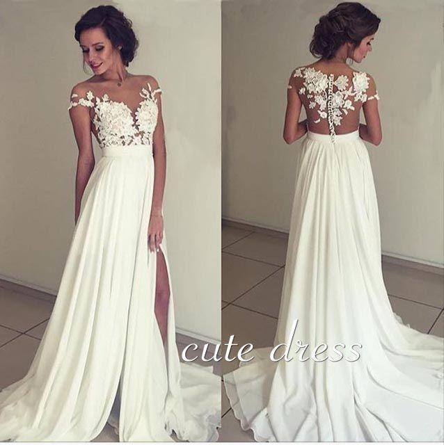 زفاف - Ivory Chiffon Lace Round Neck Long Prom Dress, Evening Dress