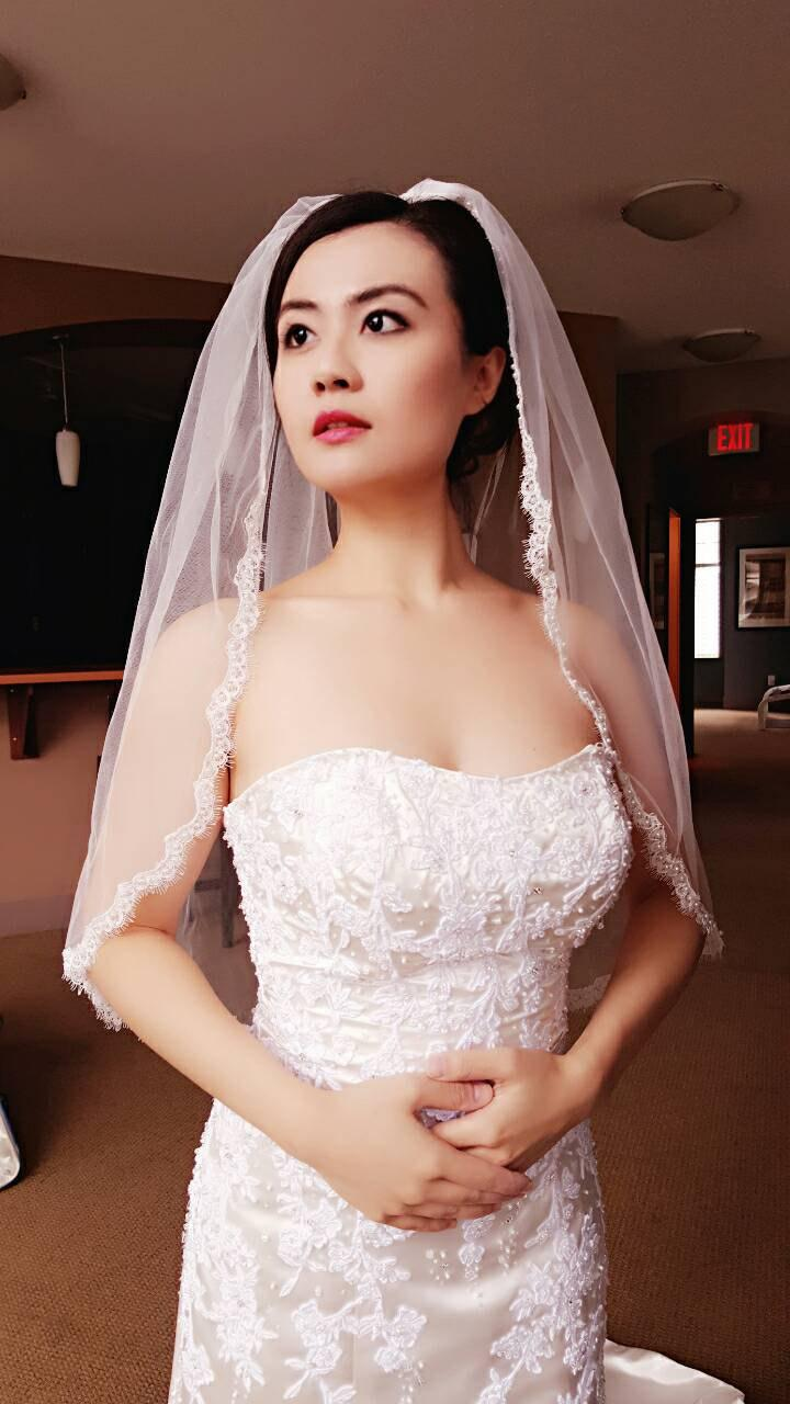 Mariage - Bridal Wedding Veil light Ivory/White Scalloped Eyelash Lace with Pearls beaded Waist Length With Comb Best Seller Ready To Ship