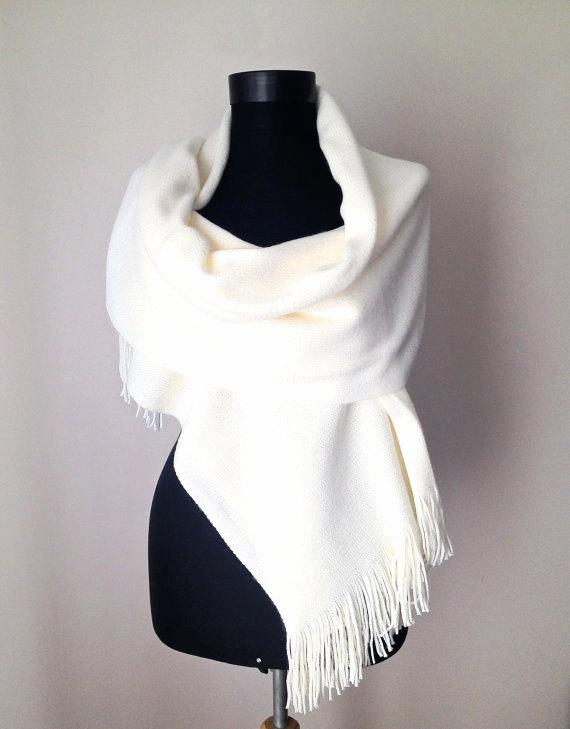 Mariage - Winter Wedding, Ivory Winter Shawl, Cream Warm Scarf, Bone Knit Scarf, Elegant Cream Wrap, Bridal Shawl, Soft Cozy Cover Up, Christmas Gift