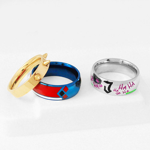 JOKERLEY Set Ring Harley Joker Stainless Steel Ring Harley Quinn