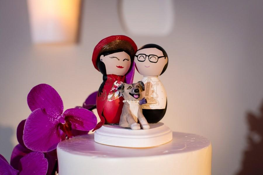 Mariage - Custom Vietnamese Bride and Filipino Groom Cake Topper with Custom Dog