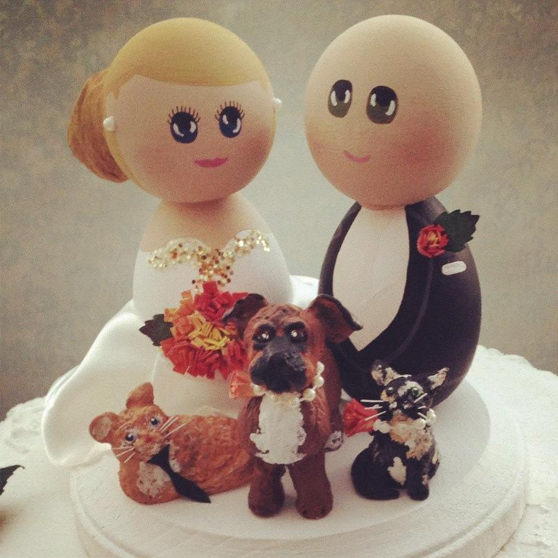 Hochzeit - Custom Wedding Cake Toppers and Pets