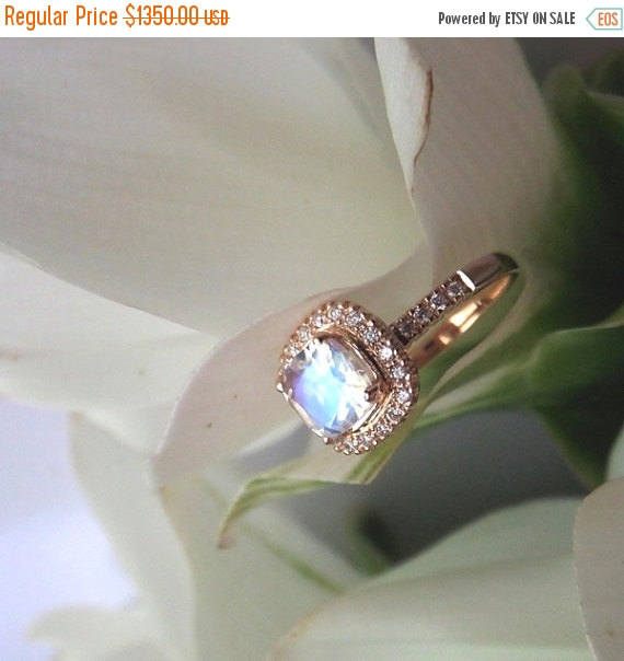 زفاف - ON SALE: Blue Sheen Moonstone Engagement Ring, Moonstone and Diamond E Ring in 18k Rose Gold, Ready to Ship