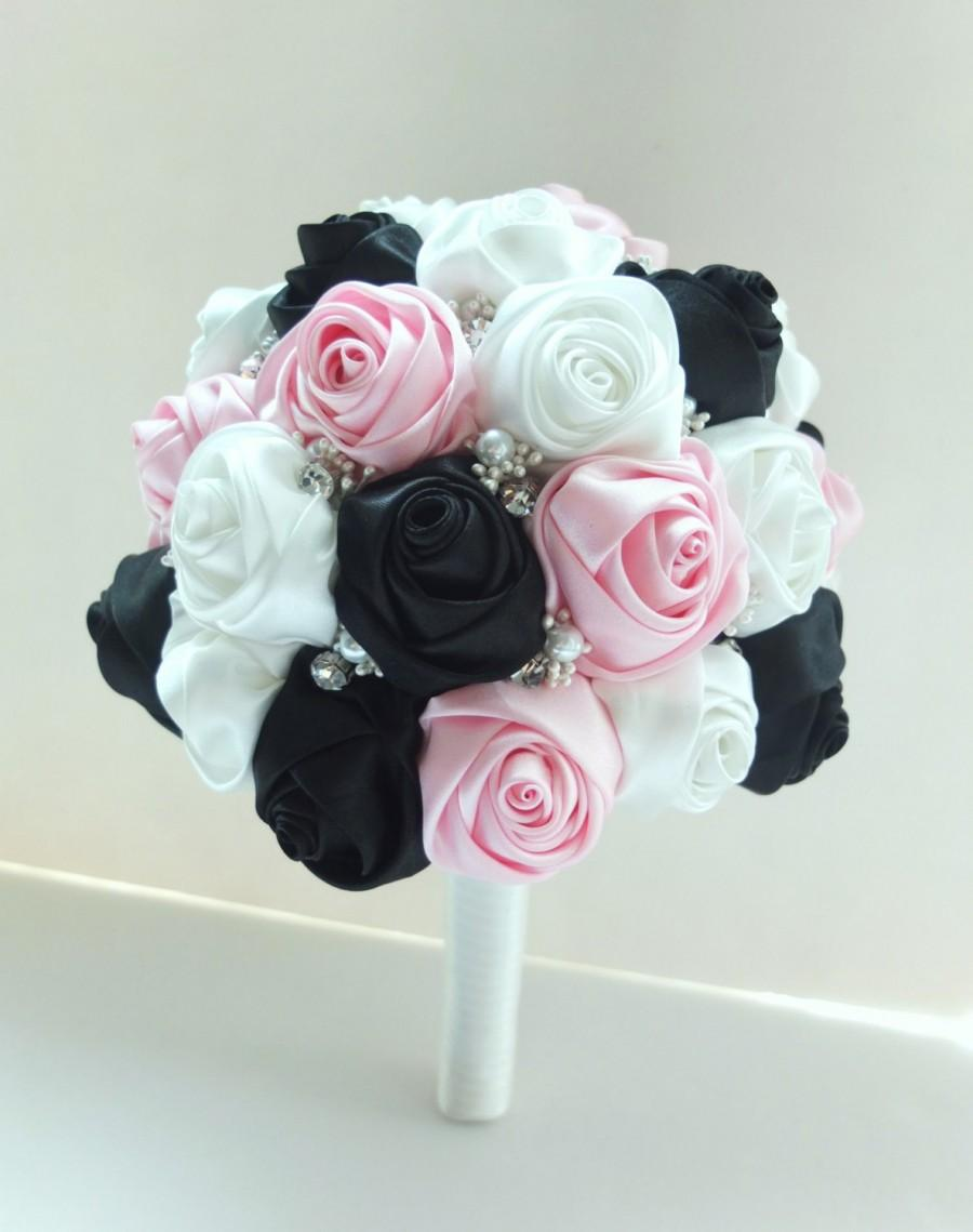 Handmade Satin Rose Bouquet Black Ivory Pink Flower Accented